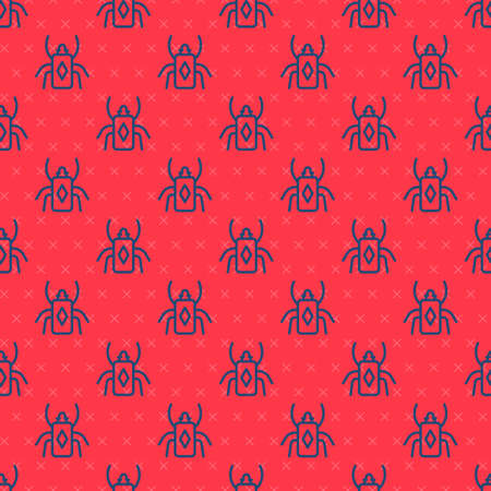 Blue line Beetle bug icon isolated seamless pattern on red background. Vector