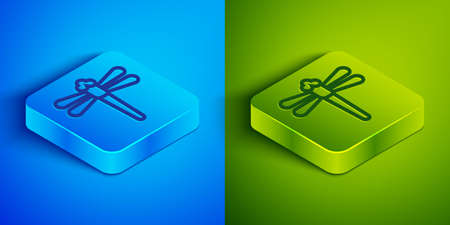 Isometric line Dragonfly icon isolated on blue and green background. Square button. Vector