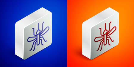 Isometric line Mosquito icon isolated on blue and orange background. Silver square button. Vector