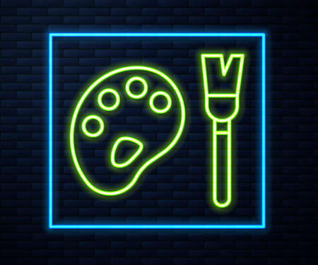 Glowing neon line Paint brush with palette icon isolated on brick wall background. Vector