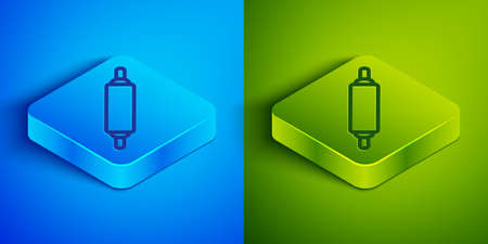 Isometric line Rolling pin icon isolated on blue and green background. Square button. Vector