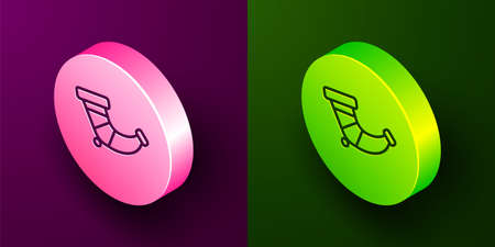 Isometric line Hunting horn icon isolated on purple and green background. Circle button. Vector Vettoriali