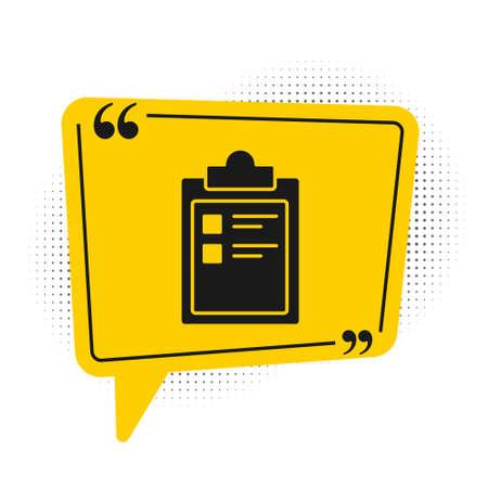 Black Sport training program or fitness plan icon isolated on white background. Yellow speech bubble symbol. Vector Illustration