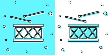 Black line Musical instrument drum and drum sticks icon isolated on green and white background. Random dynamic shapes. Vector