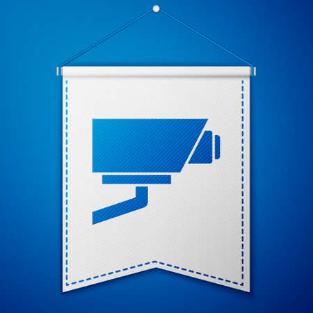Blue Security camera icon isolated on blue background. White pennant template. Vector