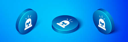 Isometric Flasher siren icon isolated on blue background. Emergency flashing siren. Blue circle button. Vector