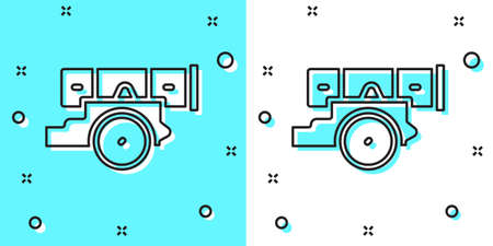 Black line Cannon icon isolated on green and white background. Random dynamic shapes. Vector