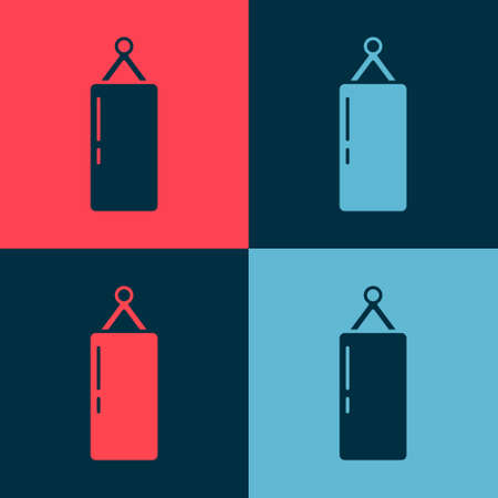 Pop art Punching bag icon isolated on color background. Vector