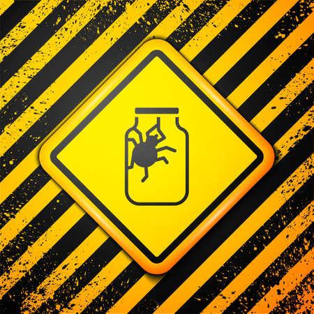 Black Spider in jar icon isolated on yellow background. Happy Halloween party. Warning sign. Vector