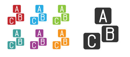 Black ABC blocks icon isolated on white background. Alphabet cubes with letters A,B,C. Set icons colorful. Vector
