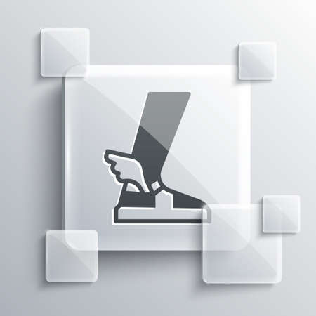 Grey Hermes sandal icon isolated on grey background. Ancient greek god Hermes. Running shoe with wings. Square glass panels. Vector