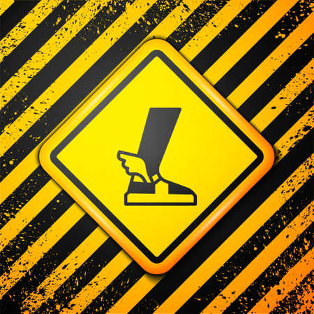 Black Hermes sandal icon isolated on yellow background. Ancient greek god Hermes. Running shoe with wings. Warning sign. Vector