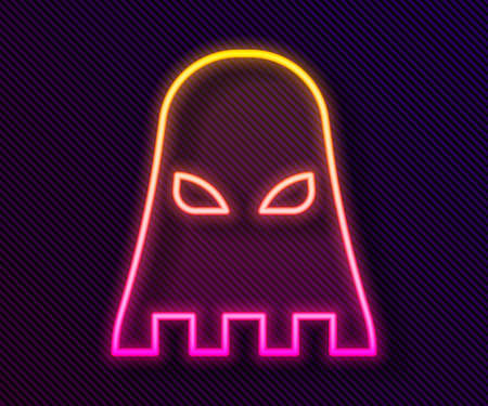 Glowing neon line Executioner mask icon isolated on black background. Hangman, torturer, executor, tormentor, butcher, headsman icon. Vector