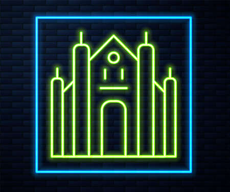 Glowing neon line Milan Cathedral or Duomo di Milano icon isolated on brick wall background. Famous landmark of Milan, Italy. Vector