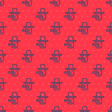 Blue line Pinocchio icon isolated seamless pattern on red background. Vector