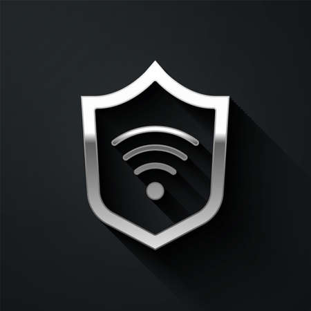 Silver Shield with WiFi wireless internet network symbol icon isolated on black background. Protection safety concept. Long shadow style. Vector