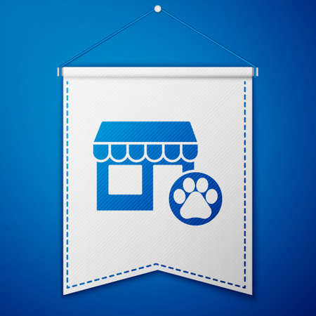 Blue Veterinary medicine hospital, clinic or pet shop for animals icon isolated on blue background. Vet or veterinarian clinic. White pennant template. Vector