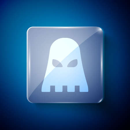 White Executioner mask icon isolated on blue background. Hangman, torturer, executor, tormentor, butcher, headsman icon. Square glass panels. Vector
