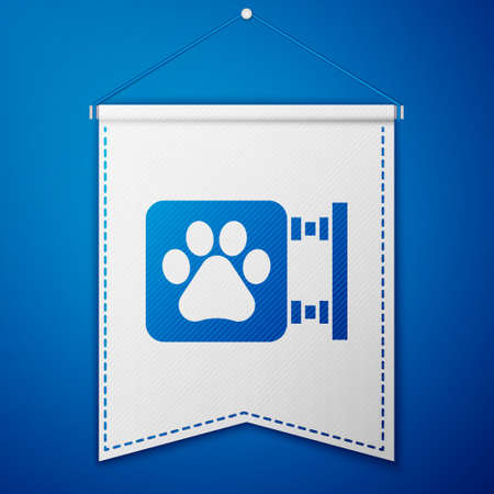 Blue Veterinary clinic symbol icon isolated on blue background. Cross hospital sign. A stylized paw print dog or cat. Pet First Aid sign. White pennant template. Vector