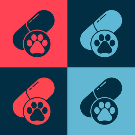 Pop art Dog pill icon isolated on color background. Prescription medicine for animal. Vector