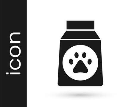 Grey Bag of food icon isolated on white background. Dog or cat paw print. Food for animals. Pet food package. Vector