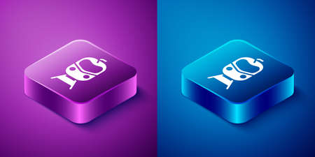 Isometric Train and railway icon isolated on blue and purple background. Public transportation symbol. Subway train transport. Square button. Vector