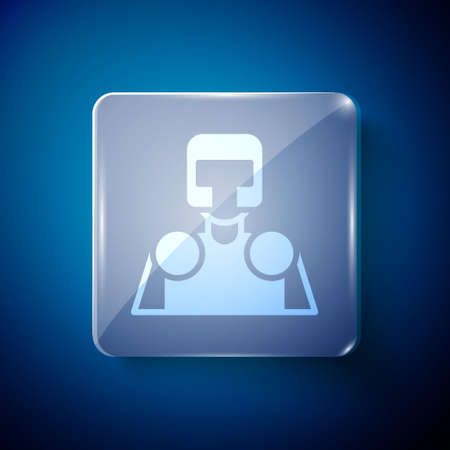 White Medieval knight icon isolated on blue background. Square glass panels. Vector