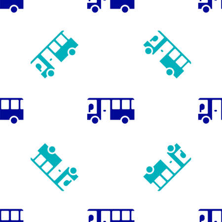 Blue Bus icon isolated seamless pattern on white background. Transportation concept. Bus tour transport sign. Tourism or public vehicle symbol. Vector
