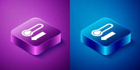 Isometric Meteorology thermometer measuring icon isolated on blue and purple background. Thermometer equipment showing hot or cold weather. Square button. Vector