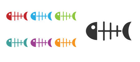 Black Fish skeleton icon isolated on white background. Fish bone sign. Set icons colorful. Vector