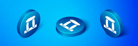Isometric Stonehenge icon isolated on blue background. Blue circle button. Vector