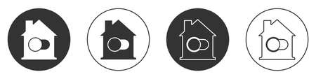 Black Smart home icon isolated on white background. Remote control. Circle button. Vector