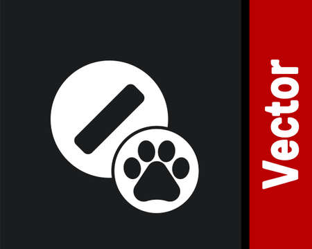 White Dog pill icon isolated on black background. Prescription medicine for animal. Vector Illustration