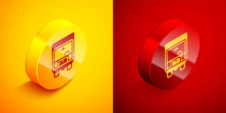 Isometric Delivery cargo truck vehicle icon isolated on orange and red background. Circle button. Vector