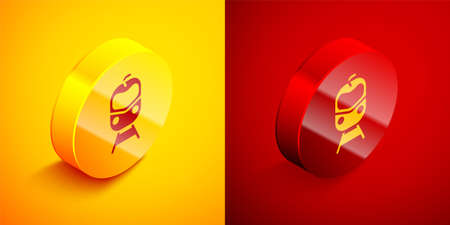 Isometric Train and railway icon isolated on orange and red background. Public transportation symbol. Subway train transport. Circle button. Vector Illustration