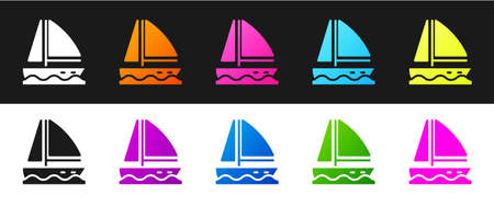Set Yacht sailboat or sailing ship icon isolated on black and white background. Sail boat marine cruise travel. Vector