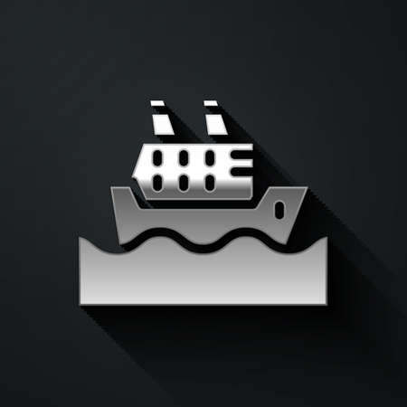 Silver Cruise ship in ocean icon isolated on black background. Cruising the world. Long shadow style. Vector