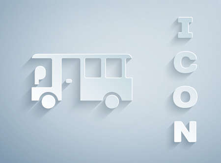 Paper cut Bus icon isolated on grey background. Transportation concept. Bus tour transport sign. Tourism or public vehicle symbol. Paper art style. Vector