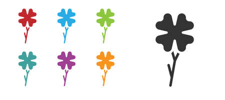 Black Four leaf clover icon isolated on white background. Happy Saint Patrick day. Set icons colorful. Vector