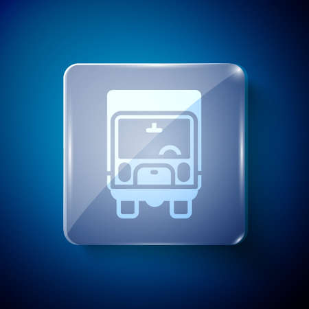 White Delivery cargo truck vehicle icon isolated on blue background. Square glass panels. Vector