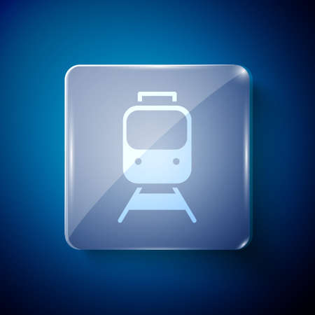 White Train and railway icon isolated on blue background. Public transportation symbol. Subway train transport. Square glass panels. Vector