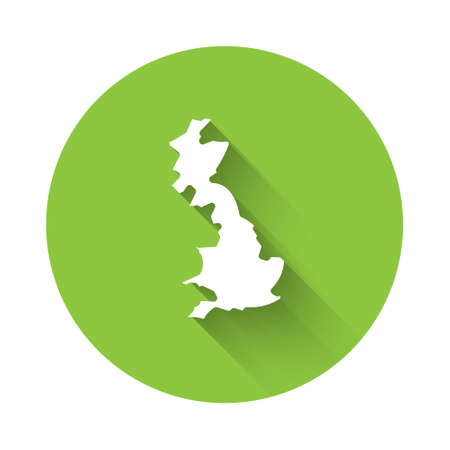White England map icon isolated with long shadow. Green circle button. Vector