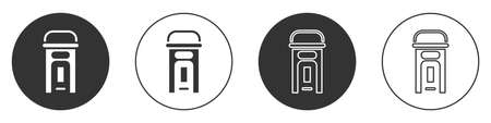 Black phone booth icon isolated on white background. Classic booth phone. Telephone street box. Circle button. Vector