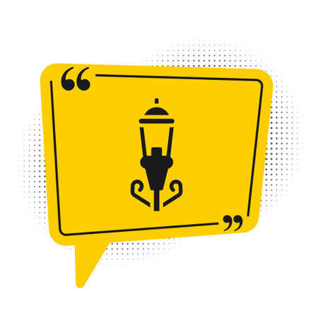 Black Vintage street light icon isolated on white background. Yellow speech bubble symbol. Vector Illustration