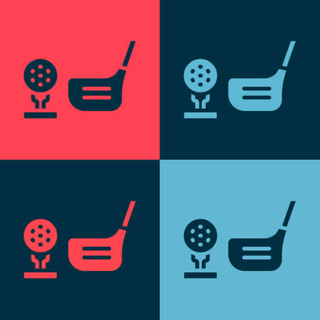 Pop art Golf ball on tee icon isolated on color background. Golf equipment or accessory. Vector Illustration