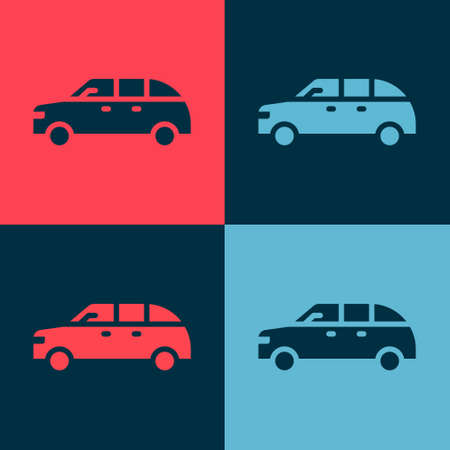 Pop art Hatchback car icon isolated on color background. Vector Illustration