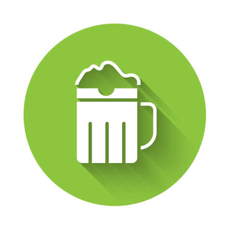 White Wooden beer mug icon isolated with long shadow. Green circle button. Vector