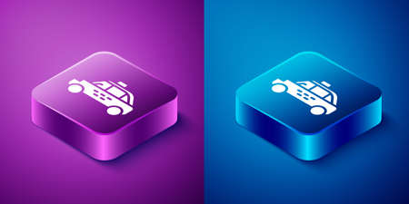 Isometric Taxi car icon isolated on blue and purple background. Square button. Vector