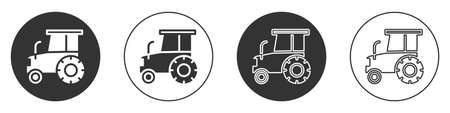 Black Tractor icon isolated on white background. Circle button. Vector