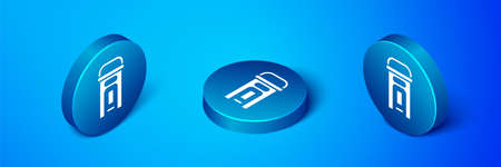 Isometric phone booth icon isolated on blue background. Classic booth phone. Telephone street box. Blue circle button. Vector